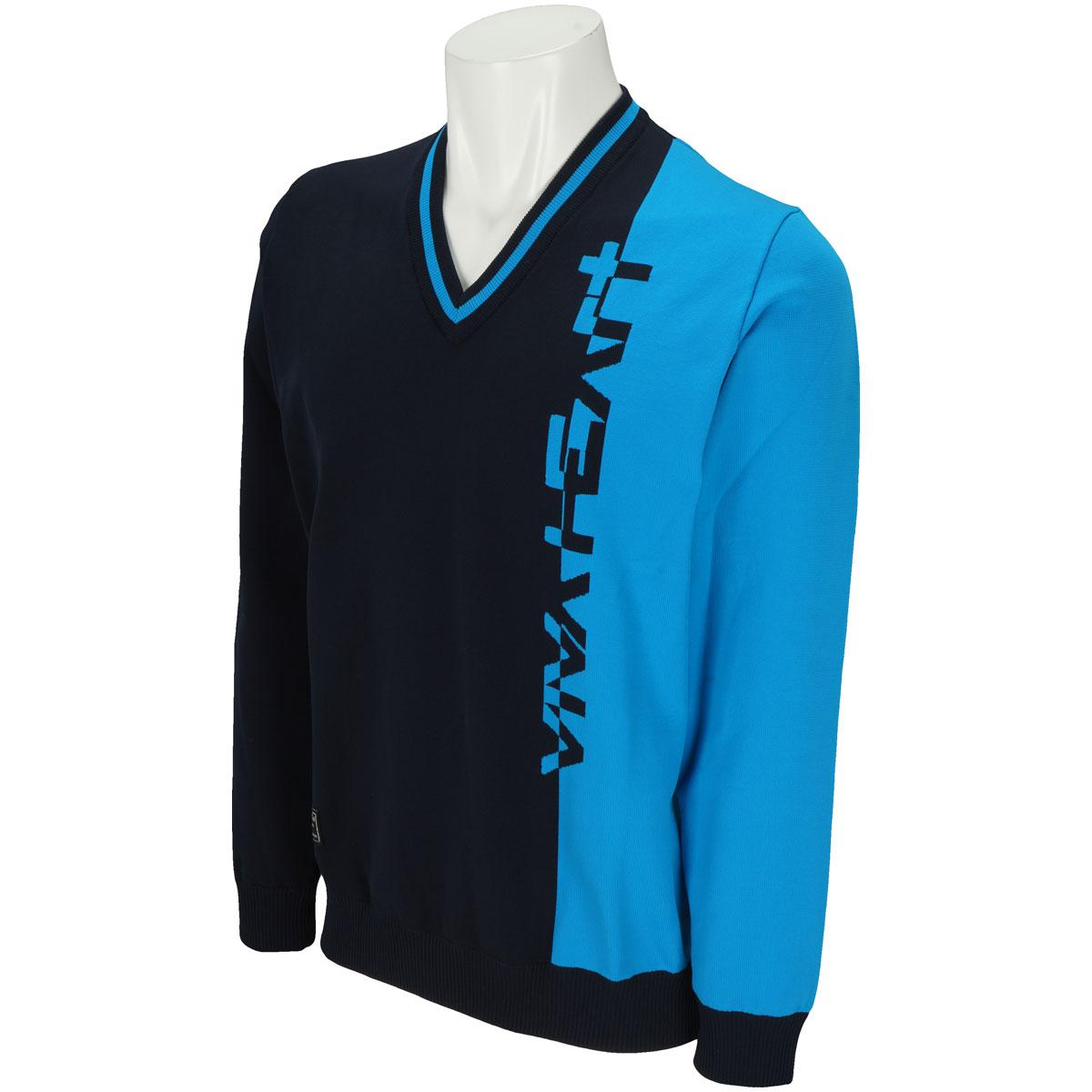Vネックロゴセーター