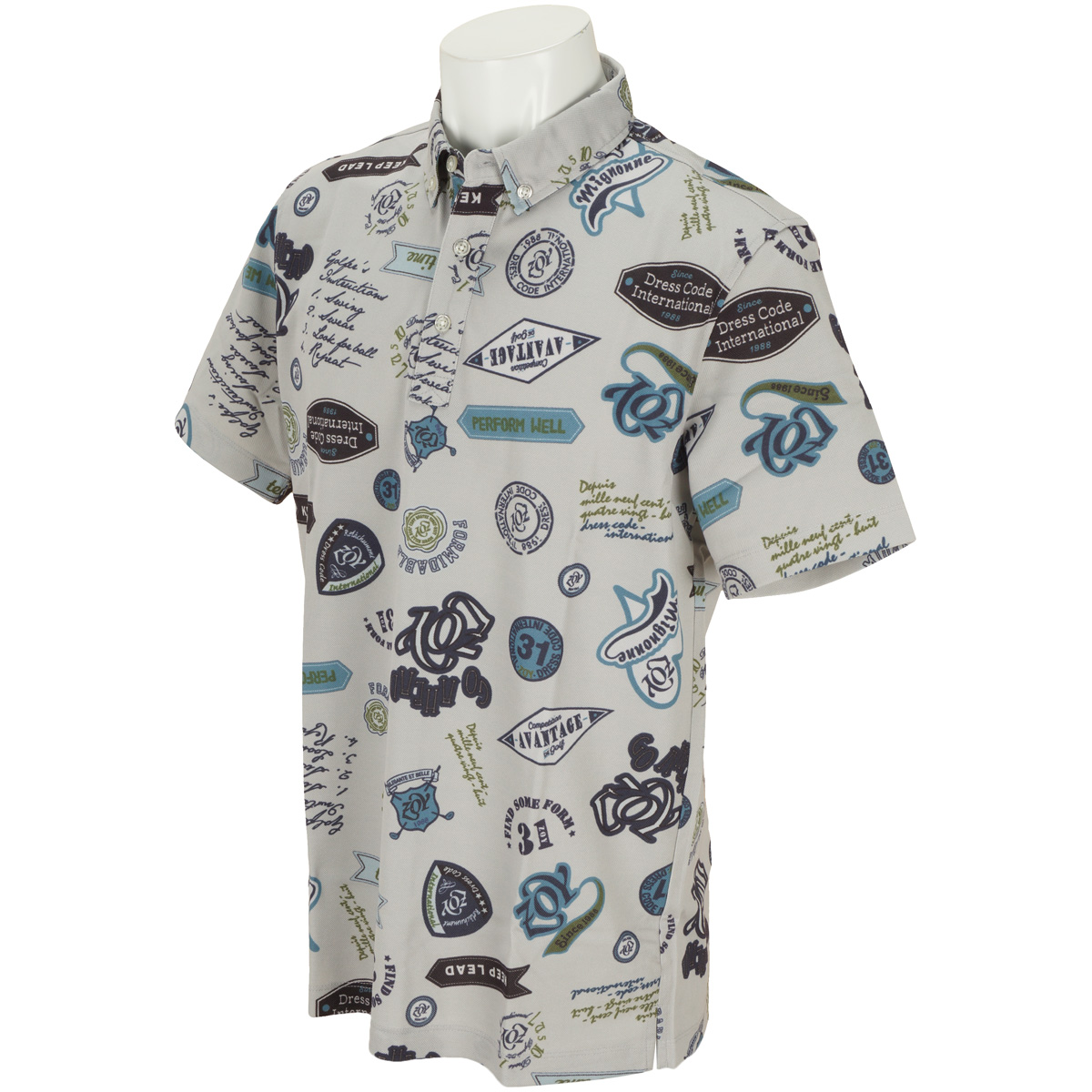 モチーフプリント 半袖ポロシャツ