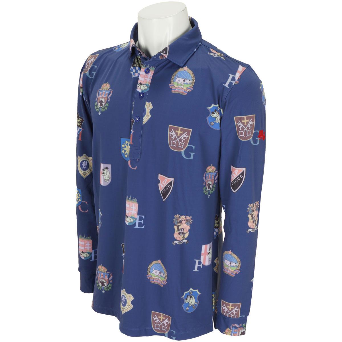 ワッペン柄長袖ポロシャツ