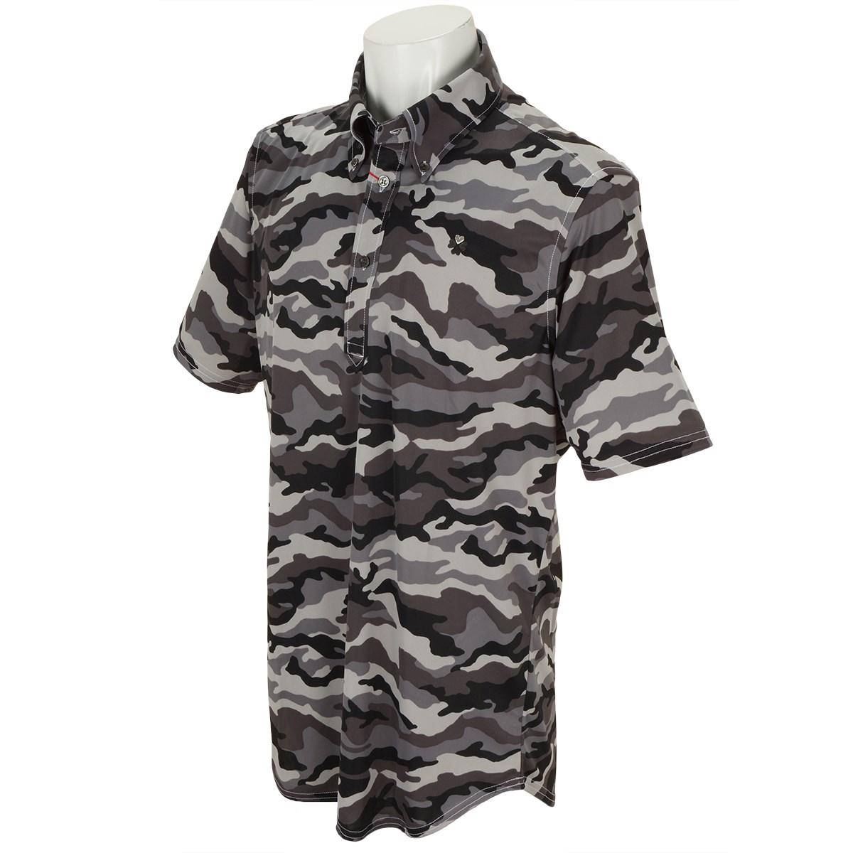 ブラッドシフト BLOOD SHIFT パターンボタンダウン半袖ポロシャツ 46 グレー系カモフラージュプリント