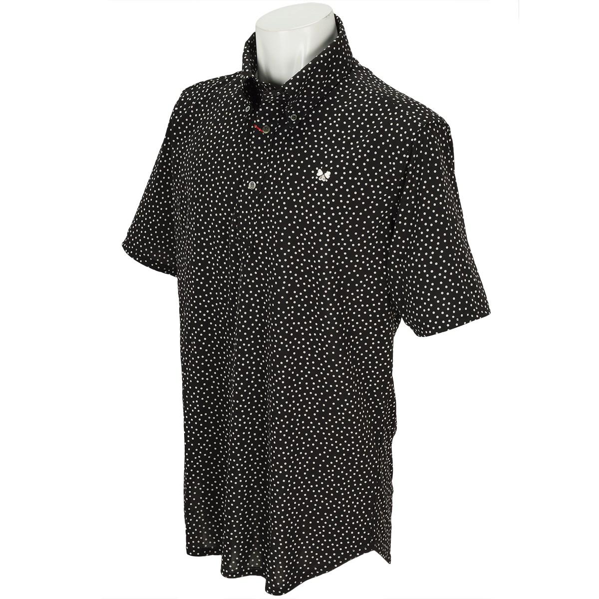 ブラッドシフト BLOOD SHIFT パターンボタンダウン半袖ポロシャツ 46 ブラック/白変形水玉プリント