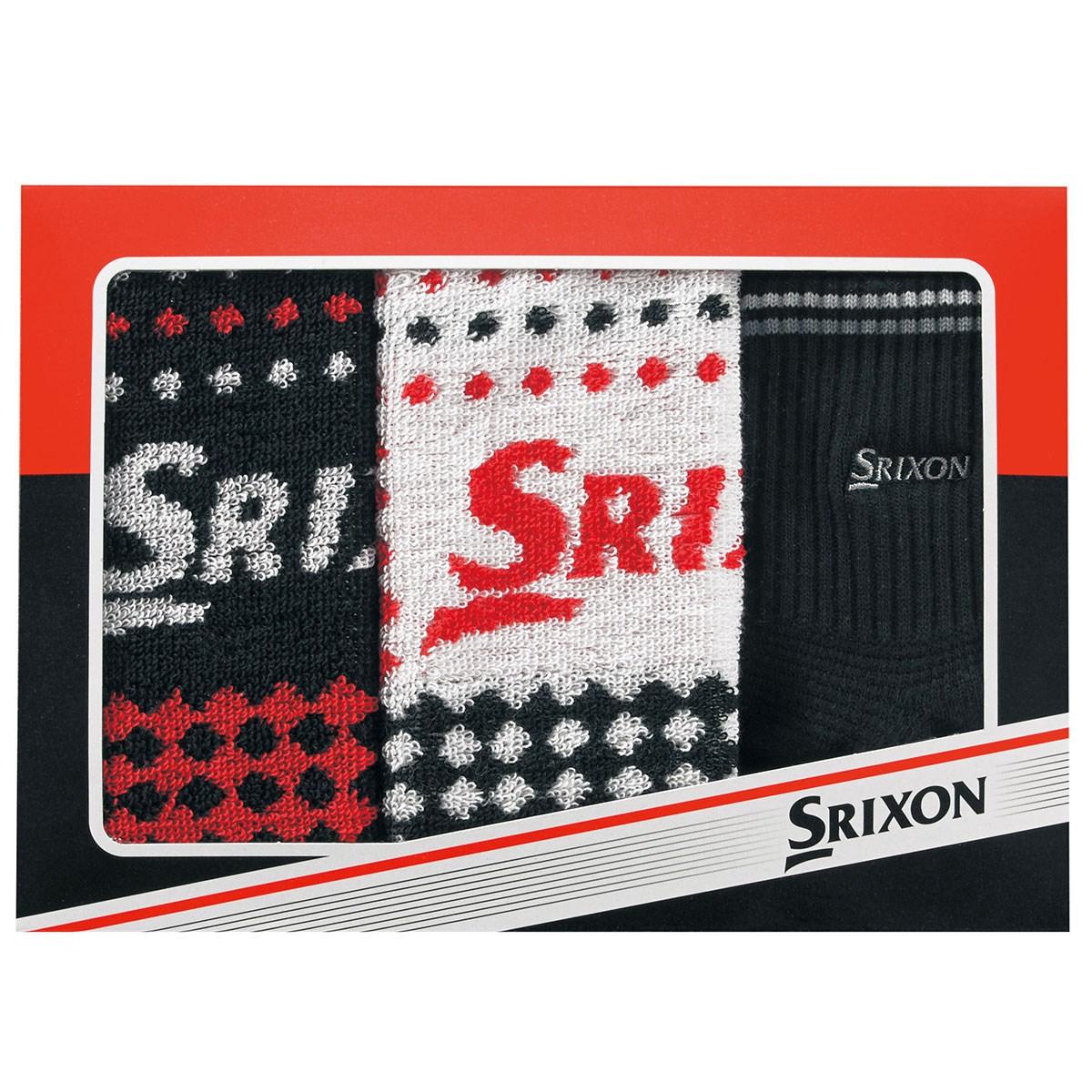 ダンロップ SRIXON ハンドタオル2枚&ソックス1足3点セット ホワイト/ブラック