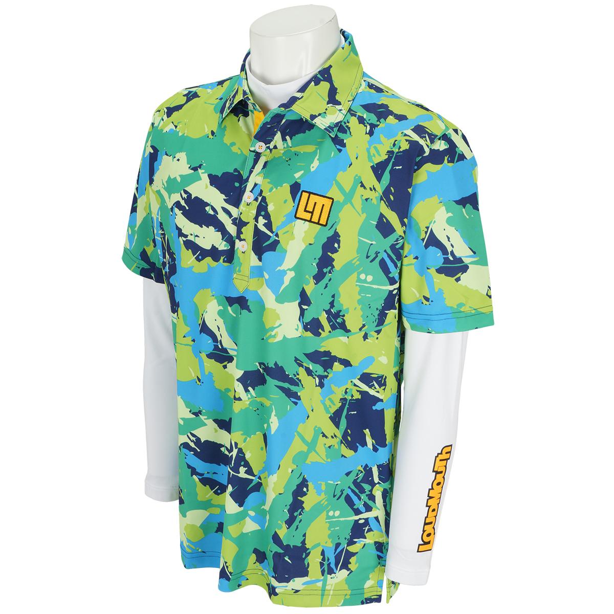 長袖ハイネックインナーシャツ付き半袖ポロシャツ