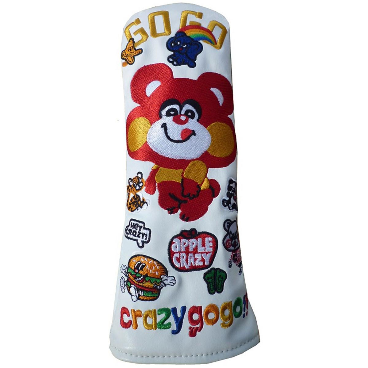 CRAZY GO GO!! ヘッドカバー UT用 有り/ダイヤル式(U3、U4、U5、U7、X) ホワイト