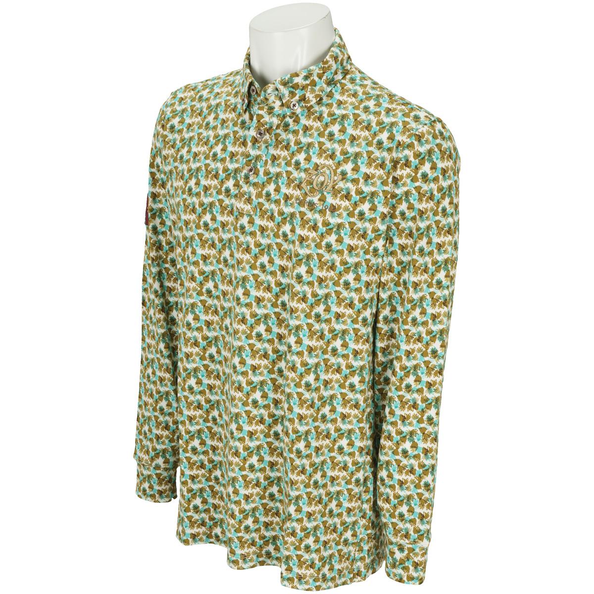 フラワープリント ストレッチ長袖ポロシャツ