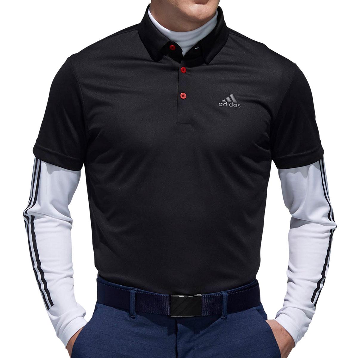 PF スリーストライプス レイヤード半袖ボタンダウンポロシャツ