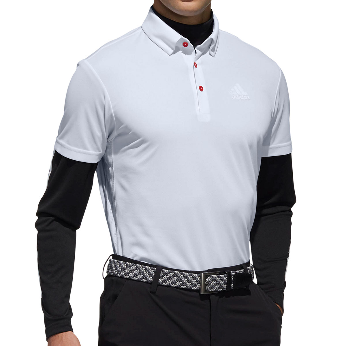 Performance スリーストライプス レイヤード半袖ボタンダウンポロシャツ