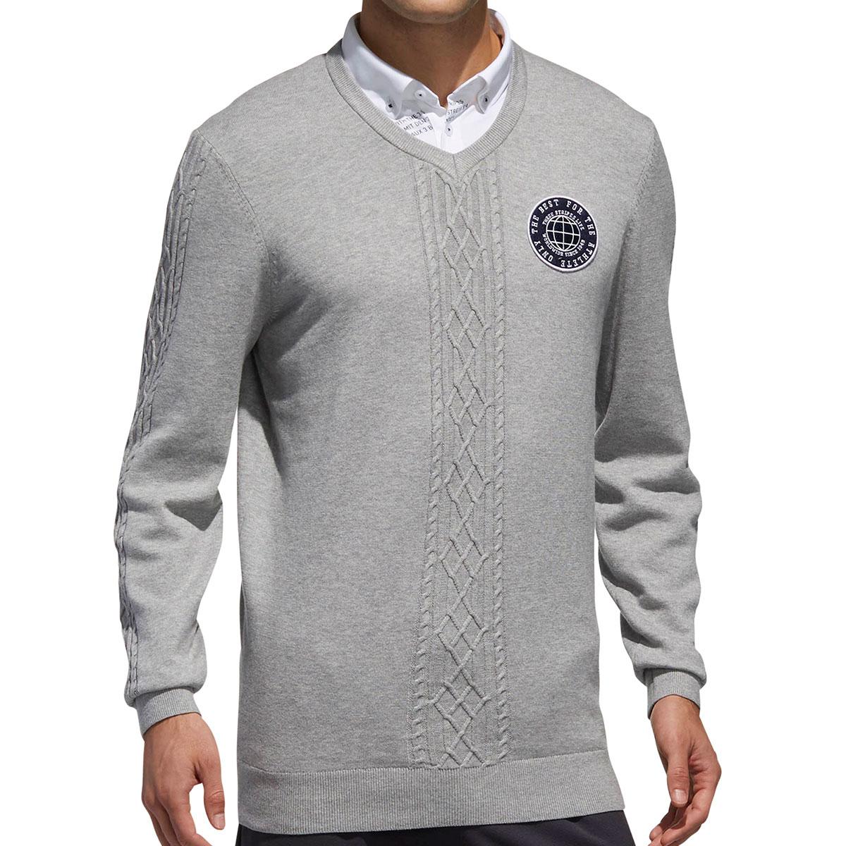ADICROSS ケーブル Vネックセーター