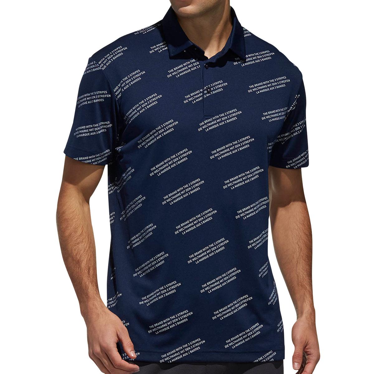 ADICROSS レタード 半袖ボタンダウンポロシャツ