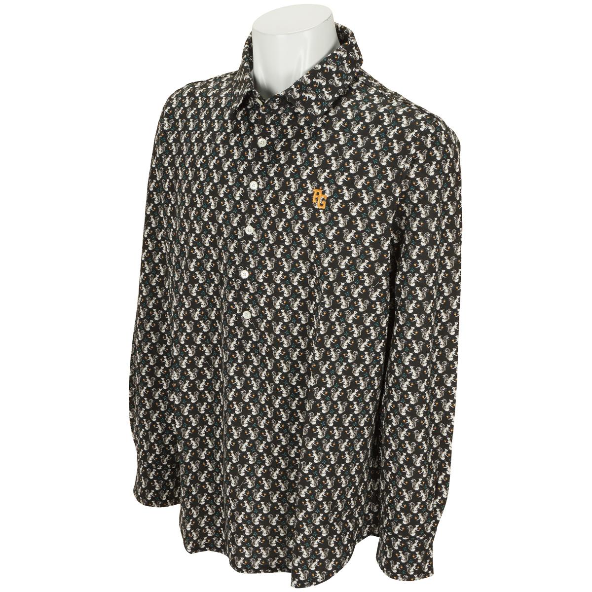 ハイゲージ度詰ポンチ リス柄プリント 長袖ポロシャツ