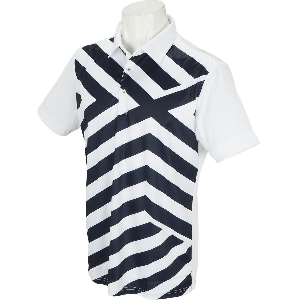WhiteLabel COOLMAX鹿の子パネルクロスプリント半袖ポロシャツ