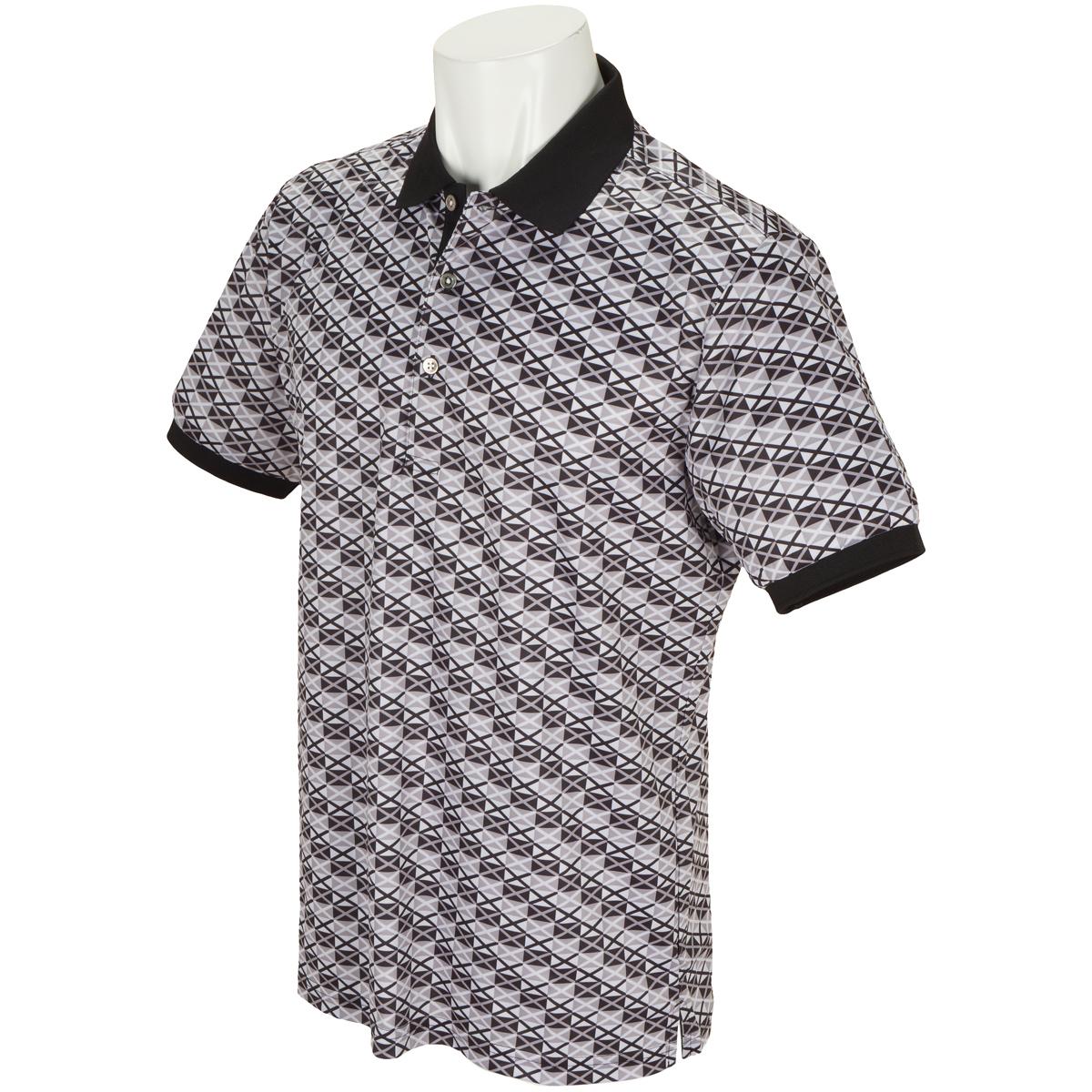 WhiteLabel COOLMAX鹿の子クロスプリント半袖ポロシャツ
