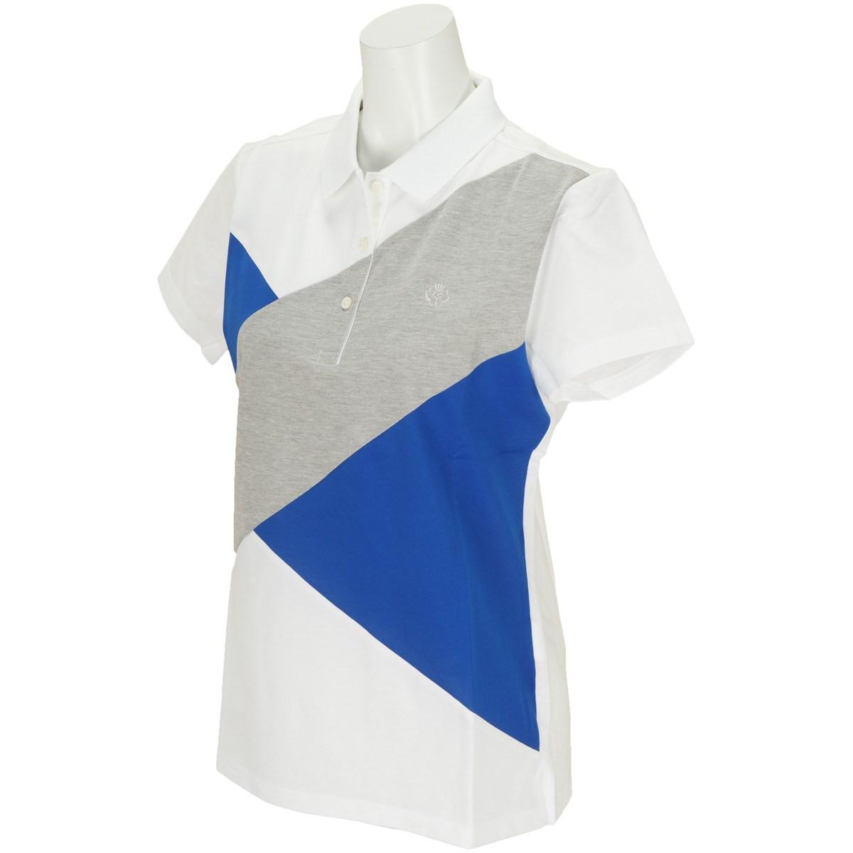 セント・アンドリュース St ANDREWS WH COOLMAXハイゲージハニカムクロス配色半袖ポロシャツ M ホワイト/ブルー/グレー 030 レディス
