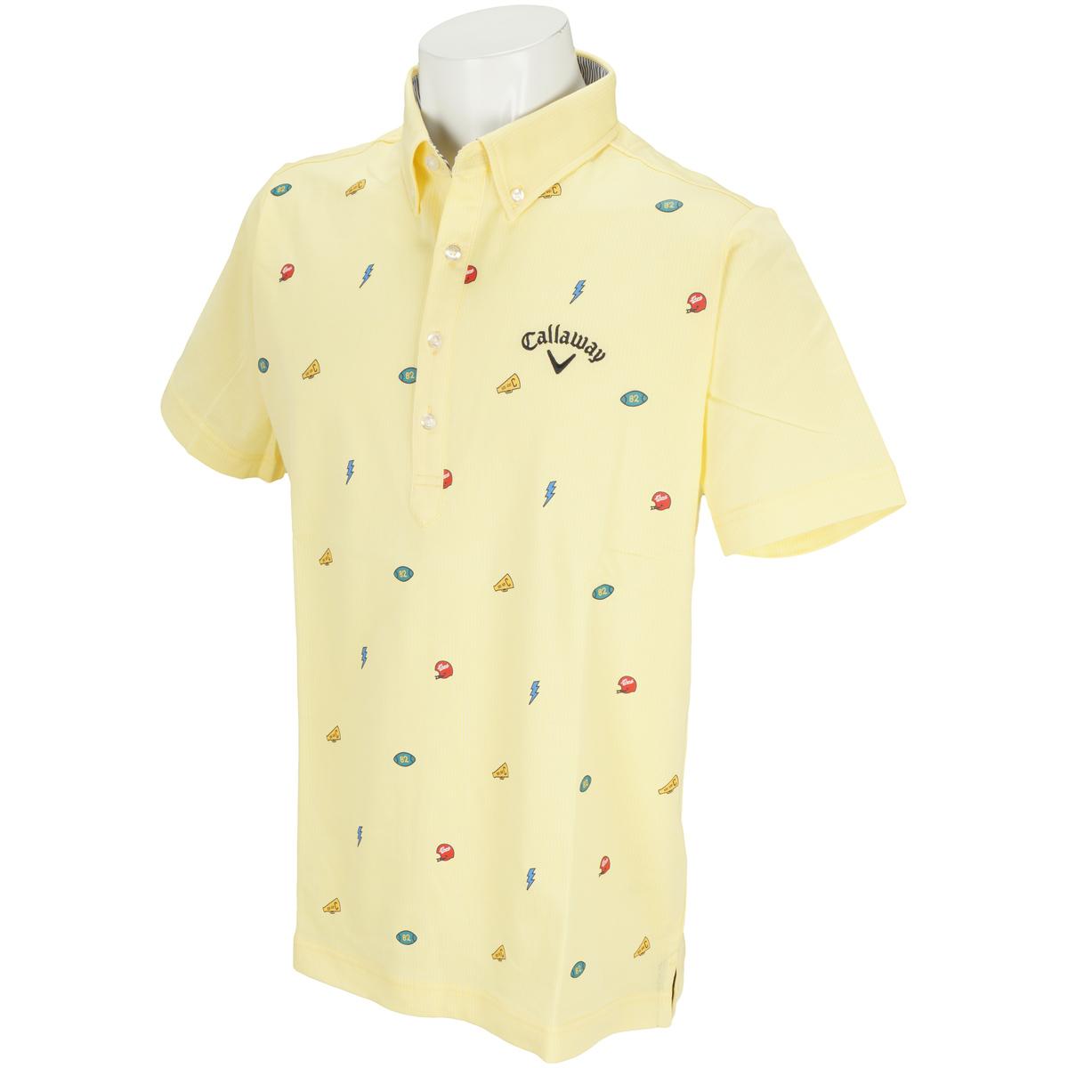 モチーフプリントカットストライプボタンダウンカラー半袖ポロシャツ