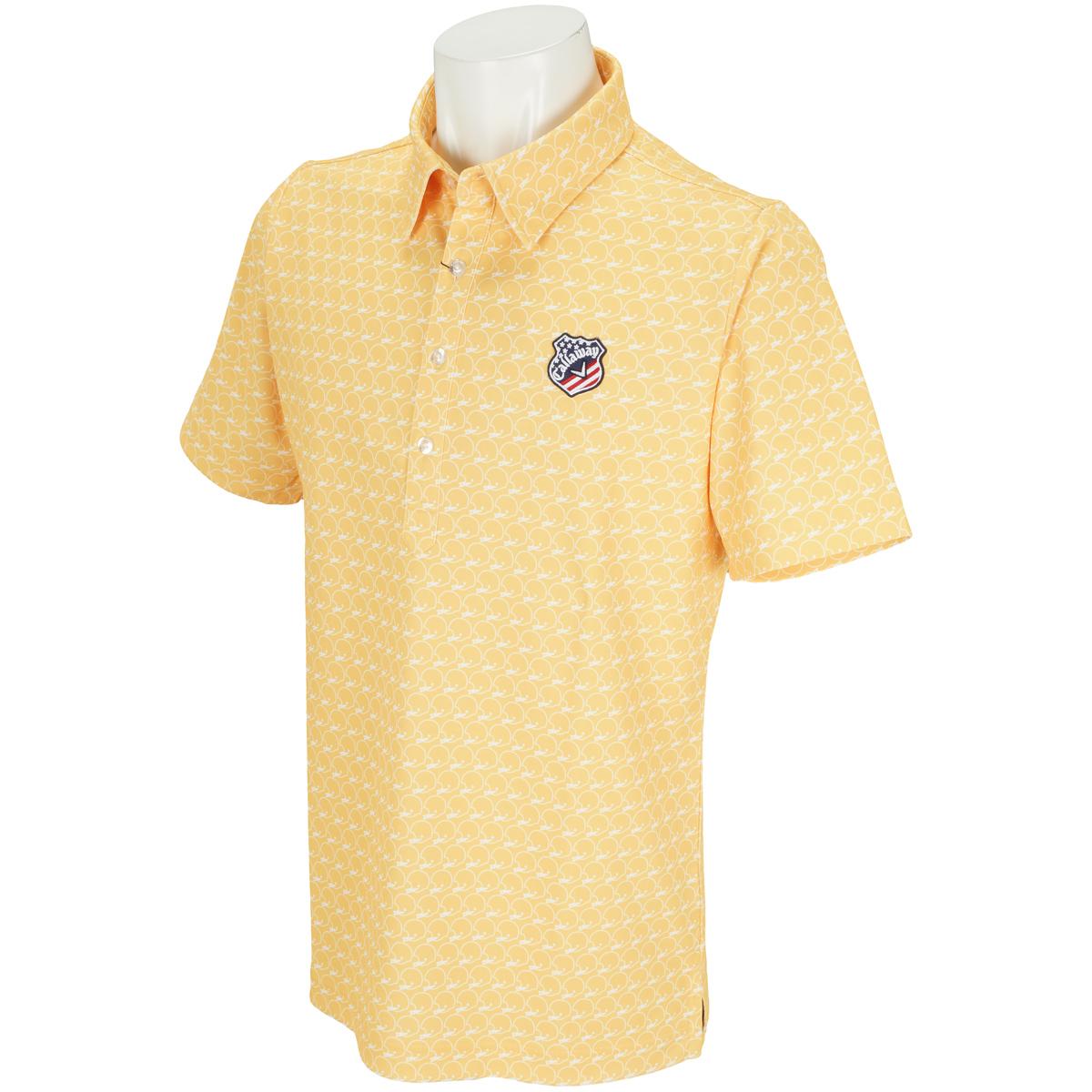 メット柄プリントレギュラーカラー半袖ポロシャツ