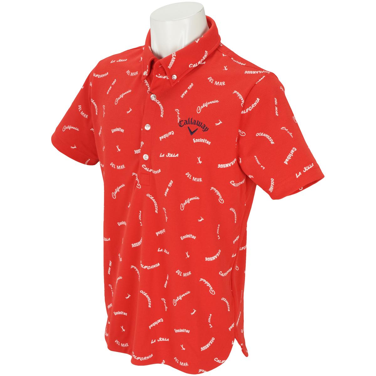レタードプリントボタンダウンカラー半袖ポロシャツ