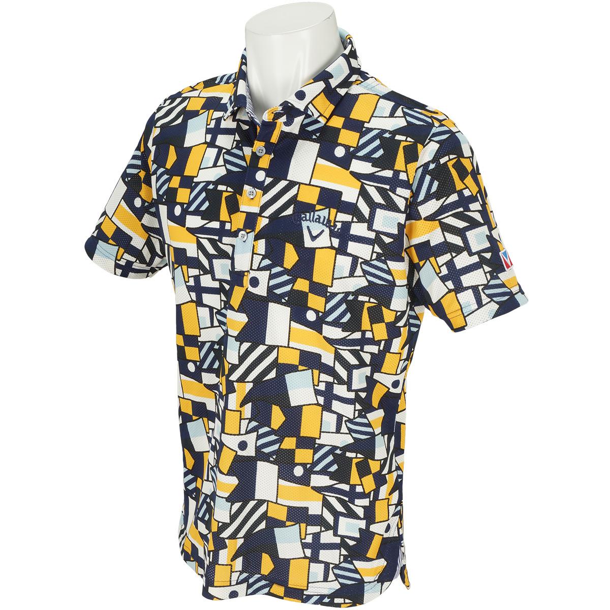 フラッグプリントワイドカラー半袖ポロシャツ