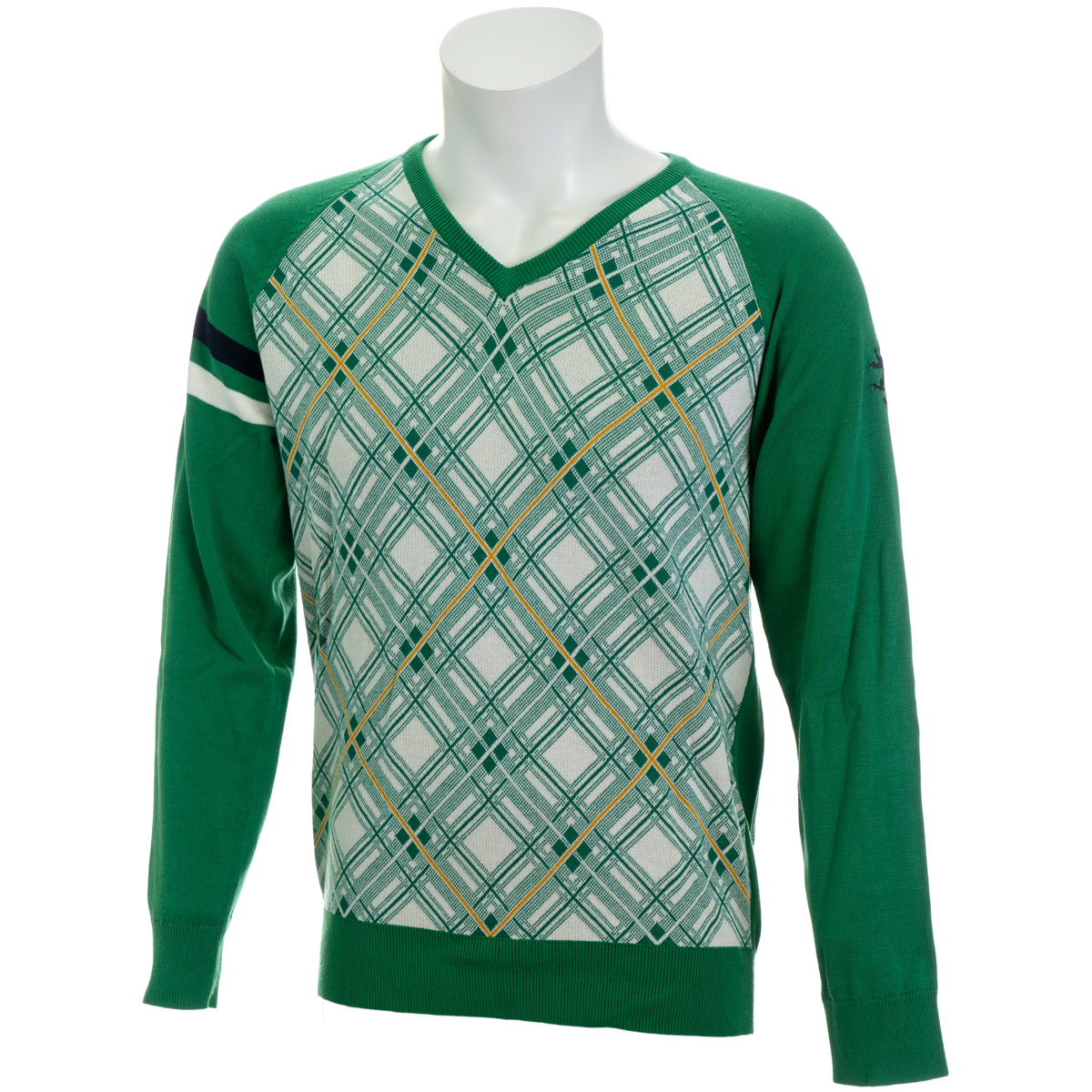 バイアスチェック Vネックセーター