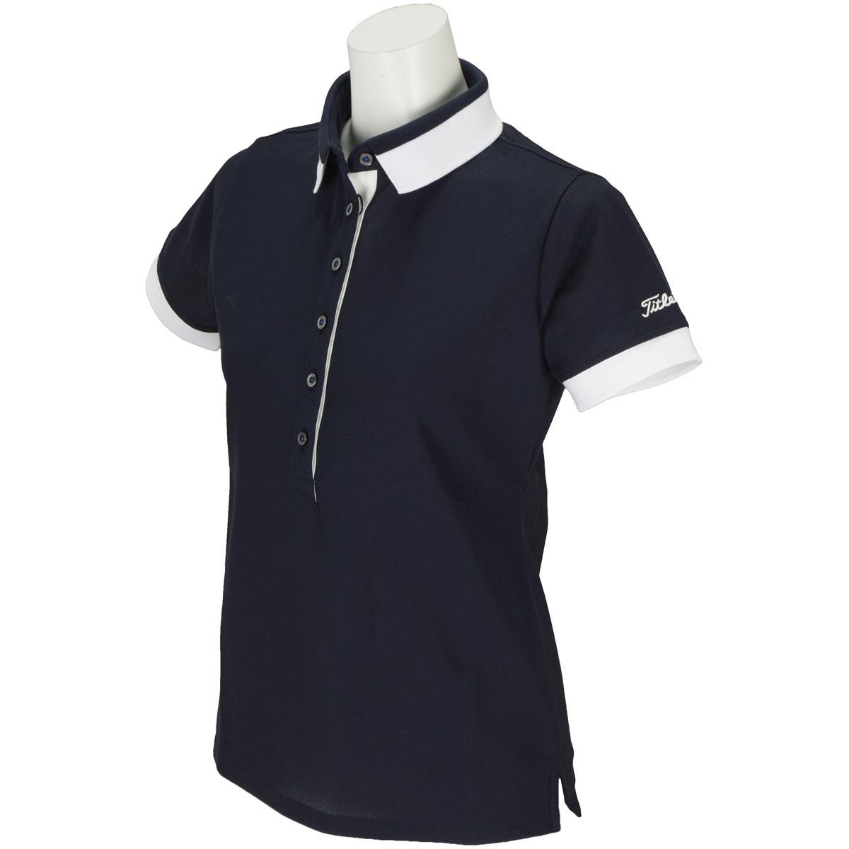 タイトリスト TITLEIST ストレッチ綿混鹿の子半袖ポロシャツ M ネイビー レディス