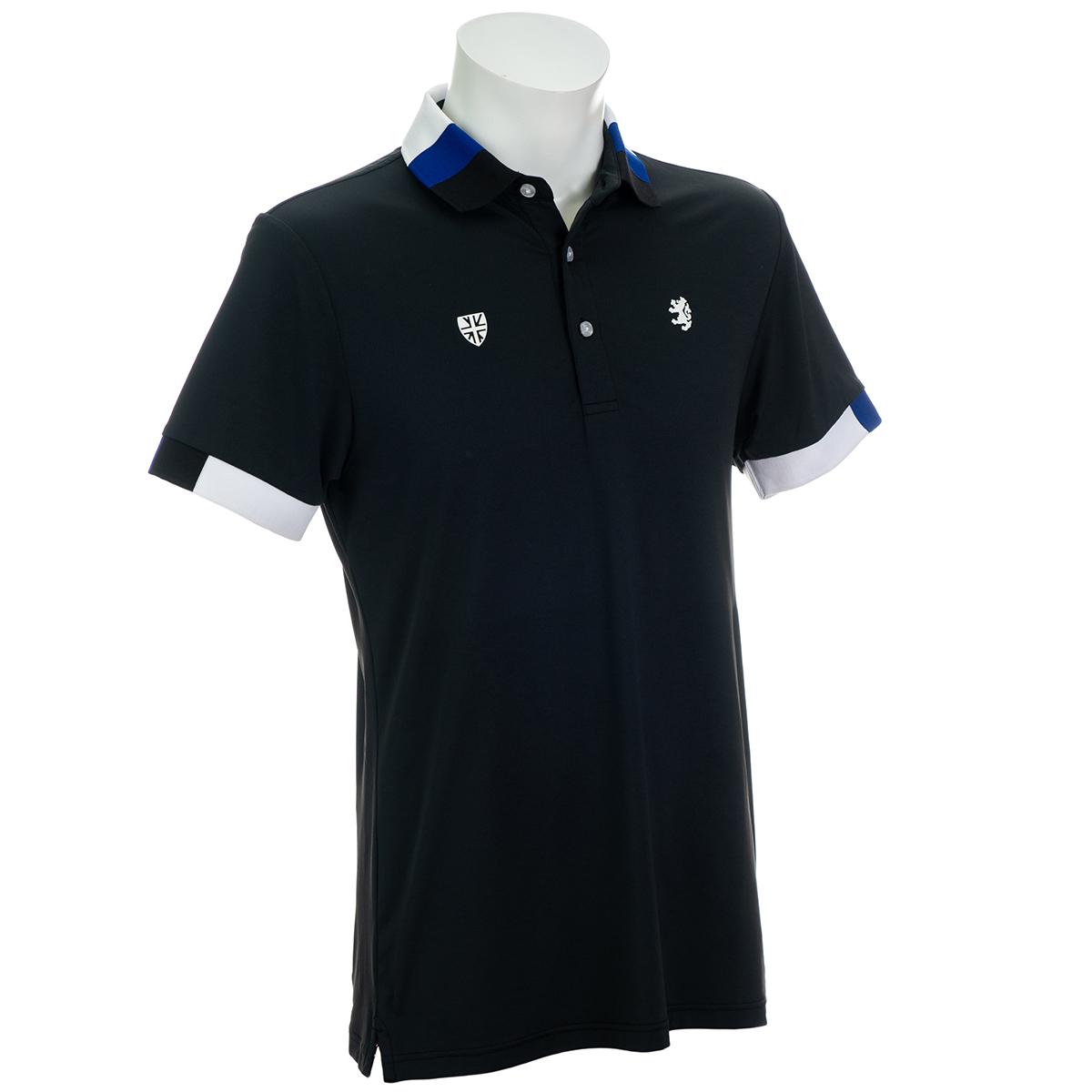 トリコロール襟 ストレッチ半袖ポロシャツ