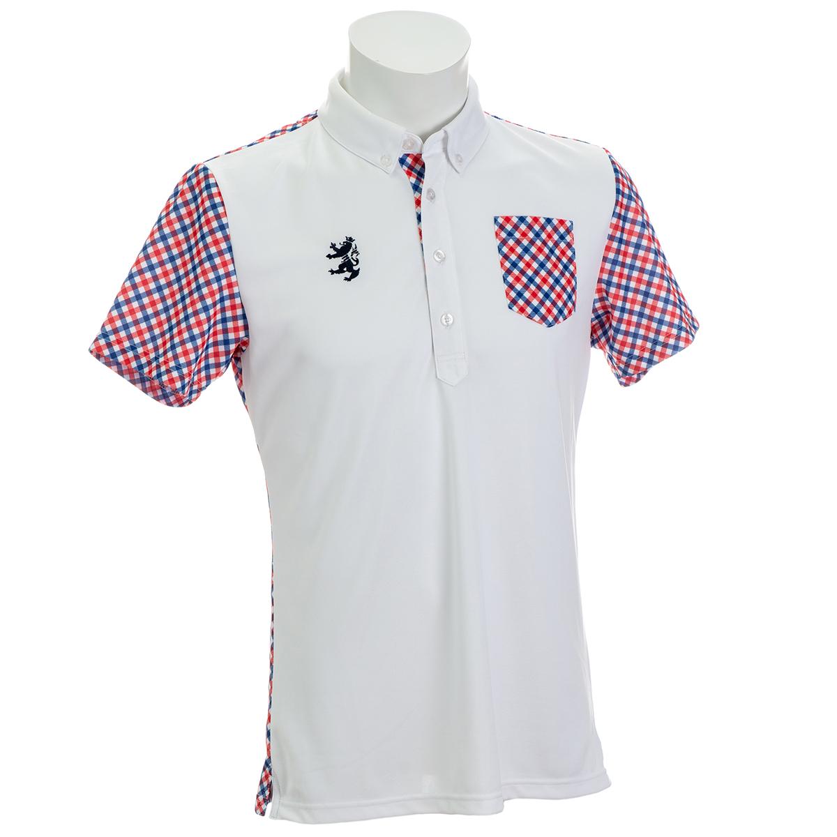 トリコチェック ボタンダウン半袖ポロシャツ