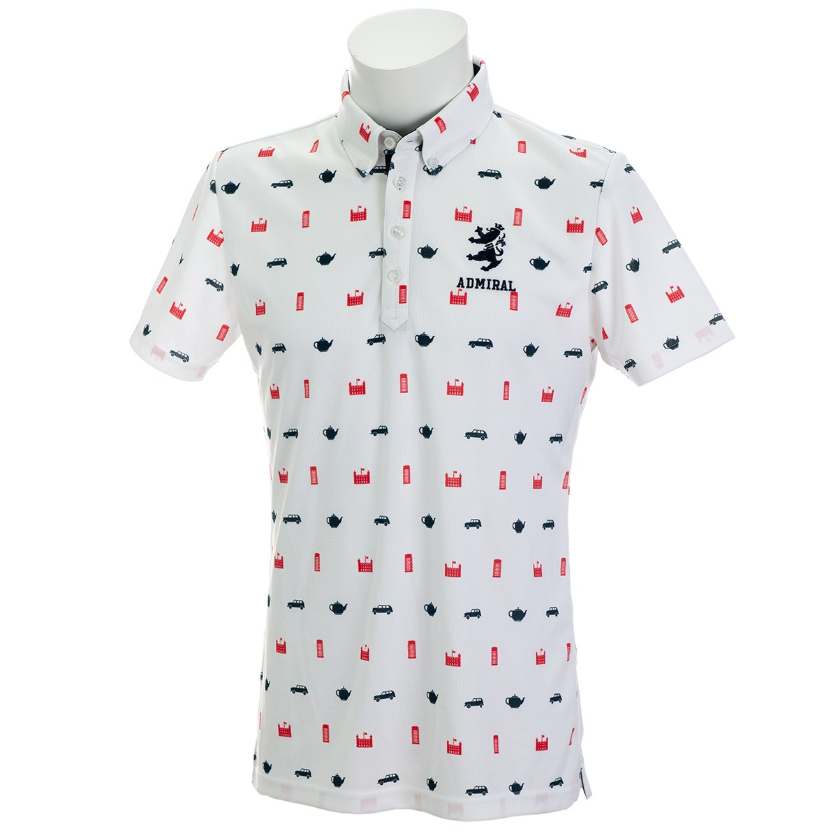 アドミラル 総柄アイコン ボタンダウン半袖ポロシャツ