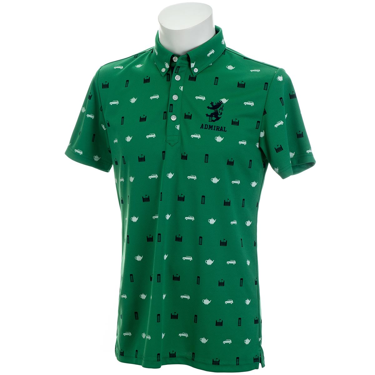 総柄アイコン ボタンダウン半袖ポロシャツ