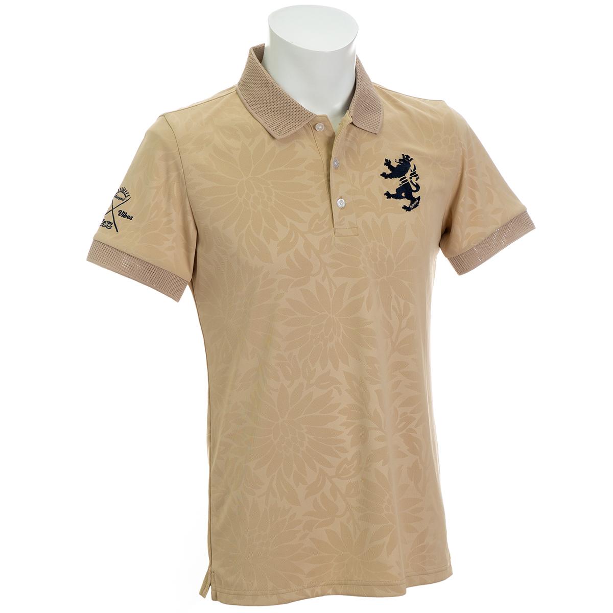 フラワーエンボス 襟メッシュ 半袖ポロシャツ