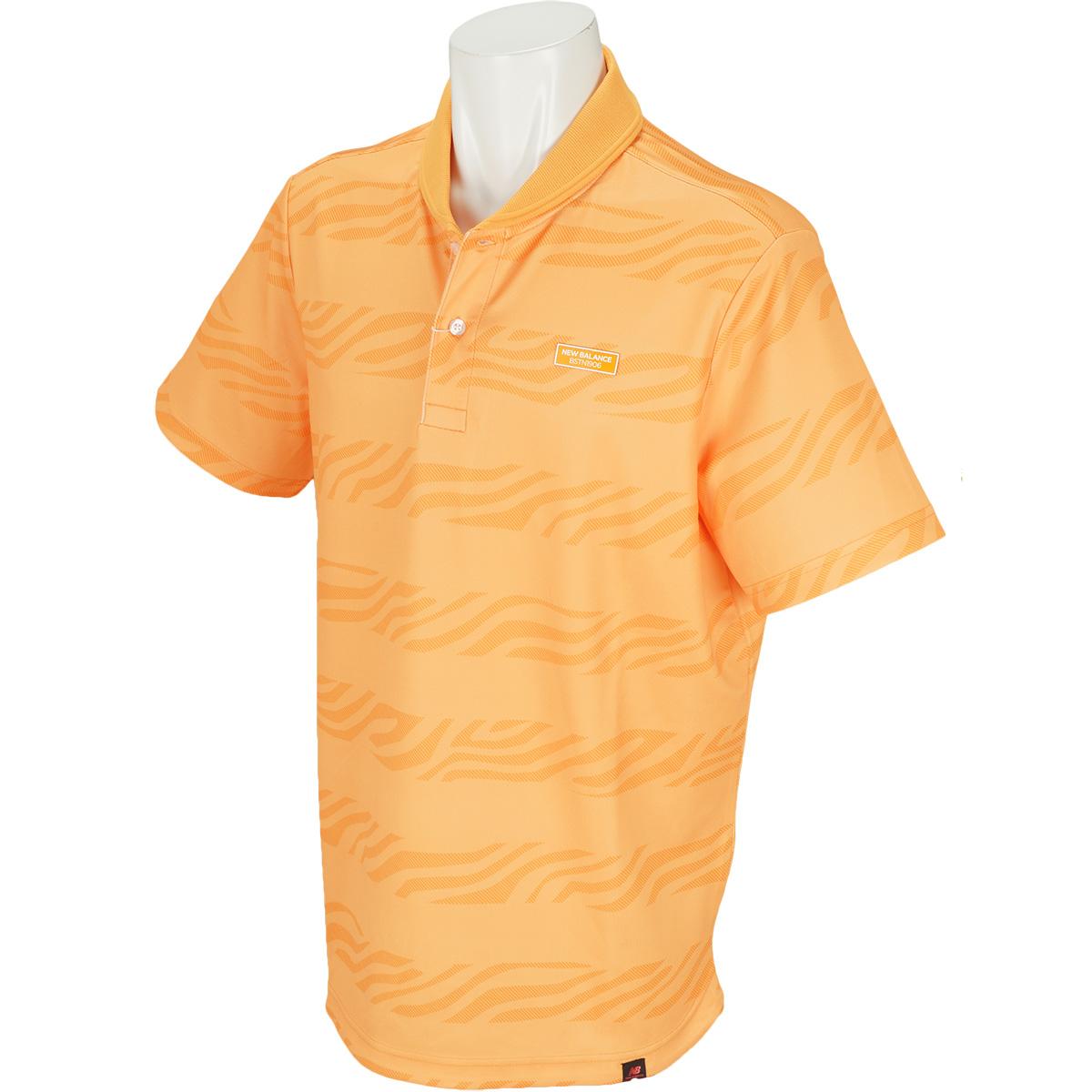 METRO 変形鹿の子 ゼブラボーダープリント半袖ポロシャツ