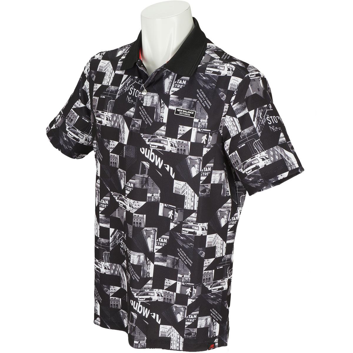 METRO 変形鹿の子 フォトモンタジュープリント半袖ポロシャツ