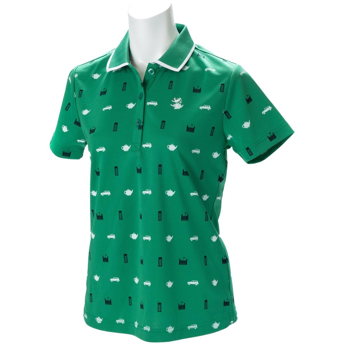 アドミラル Admiral 総柄アイコン 半袖ポロシャツ S グリーン 60 レディス