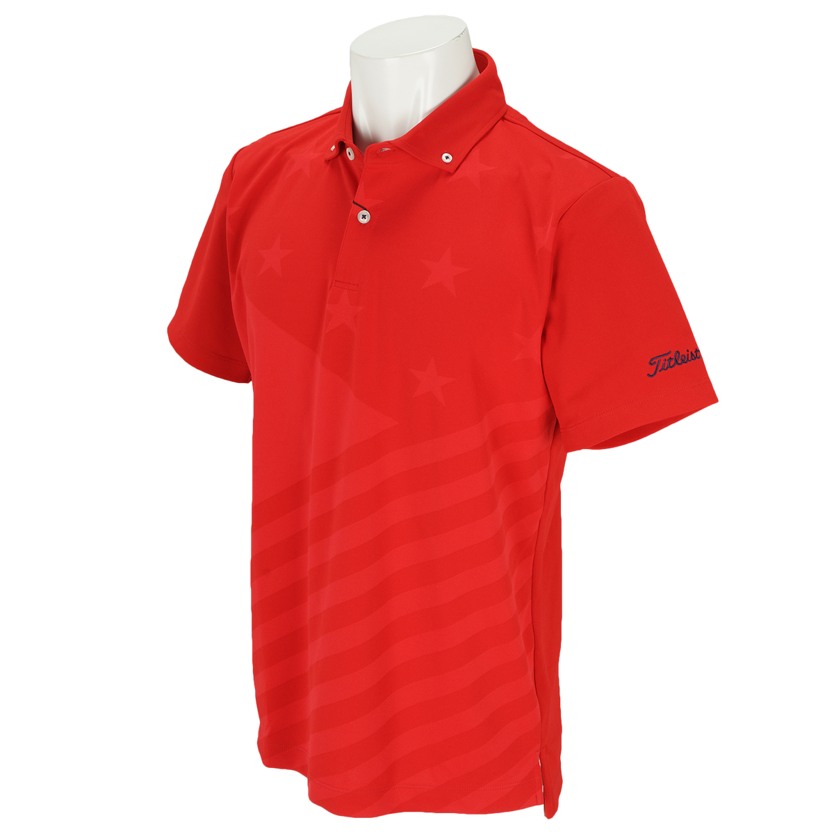 ストレッチストライプ&スター半袖ポロシャツ