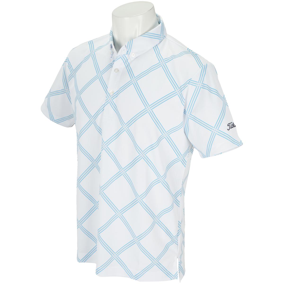 ストレッチバイヤスチェックプリント半袖ポロシャツ