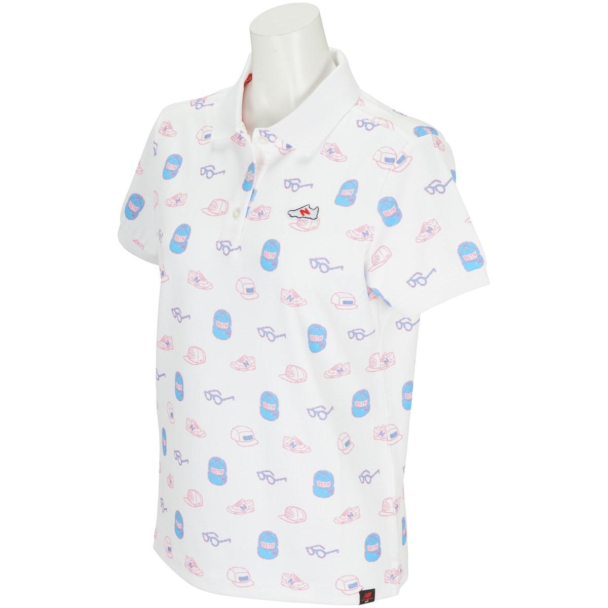 ニューバランス New Balance METRO 変形鹿の子 アイコンモノグラムプリント半袖ポロシャツ 0 ホワイト 030 レディス
