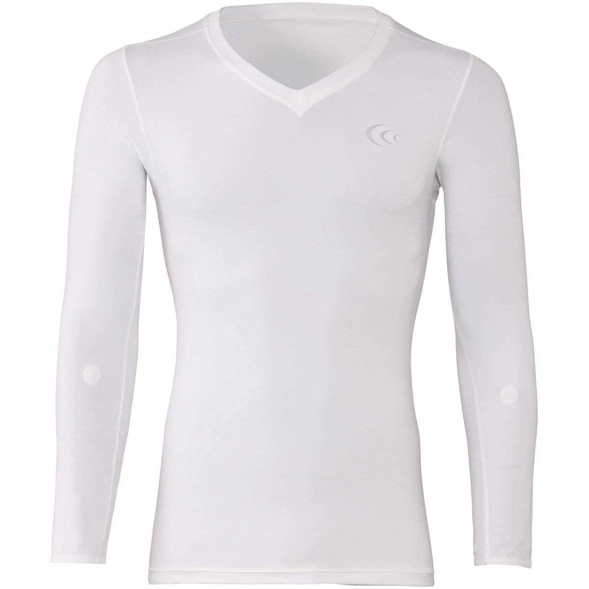[アウトレット] [在庫限りのお買い得商品] C3fit マグフローVネック長袖アンダーシャツ ホワイト メンズ ゴルフウェア