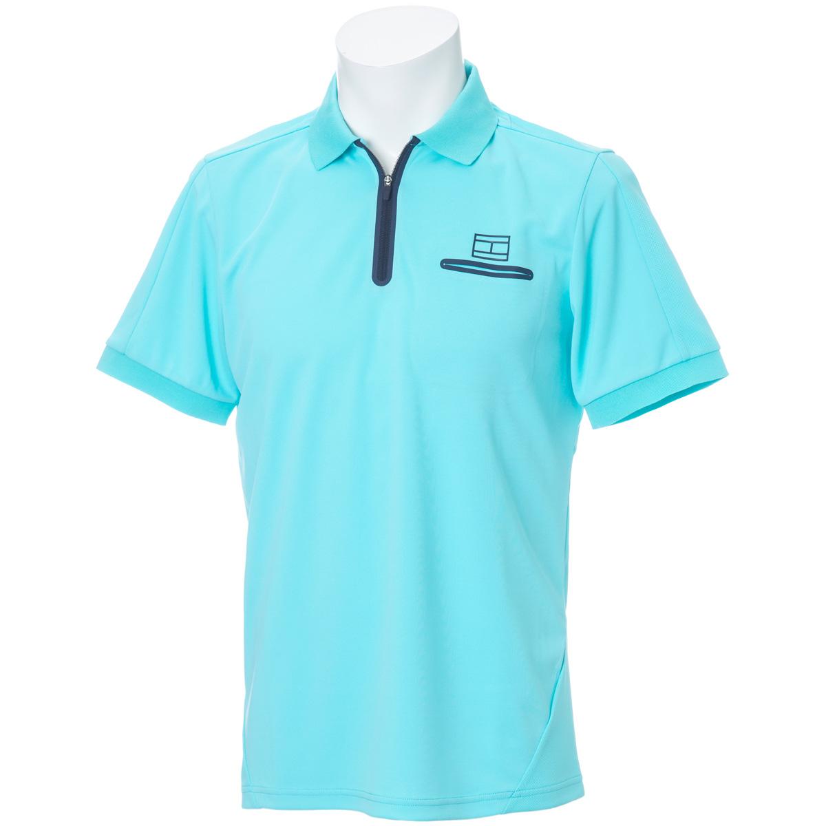 ハーフジップ 半袖ポロシャツ