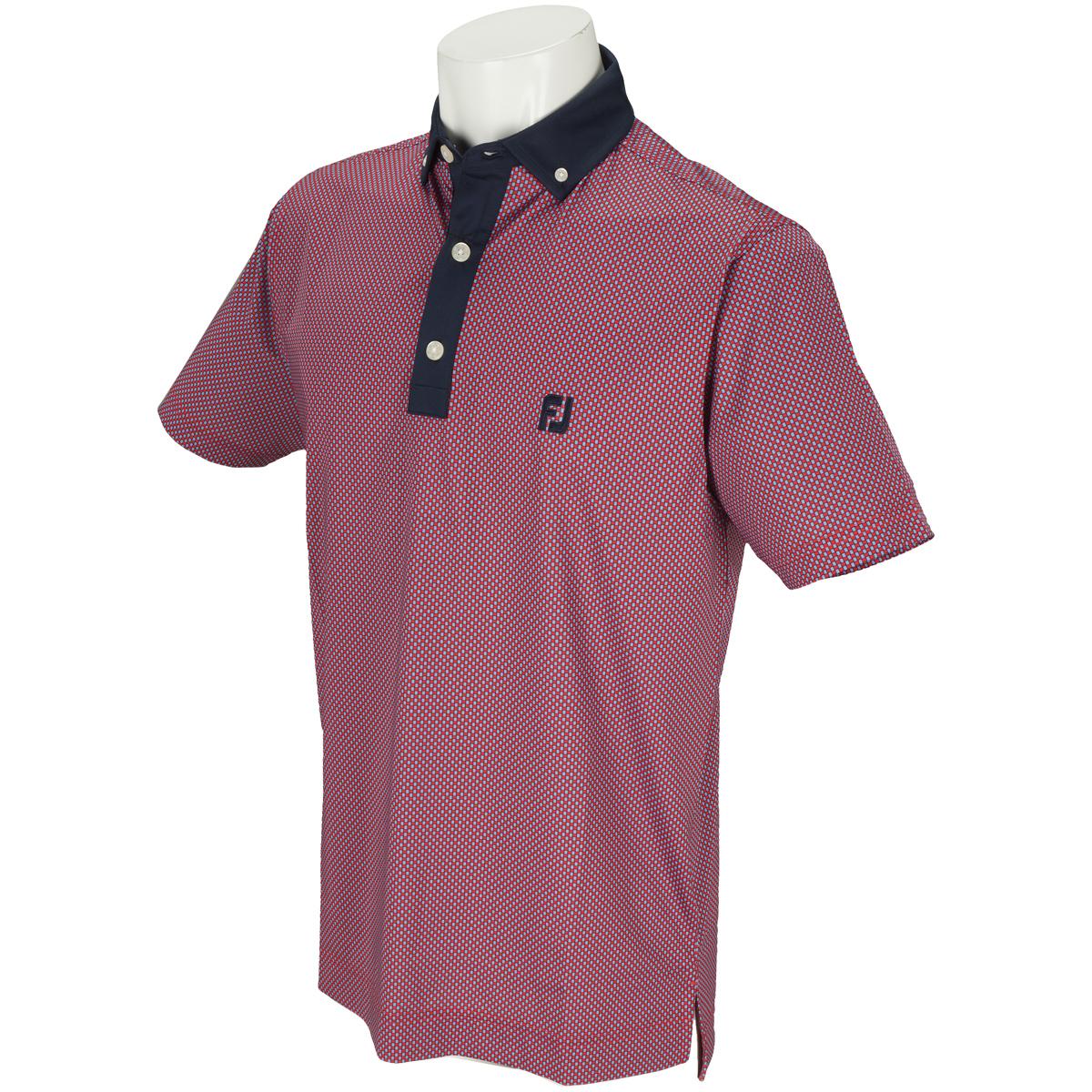 バスケットプリント ボタンダウン ストレッチライル半袖ポロシャツ