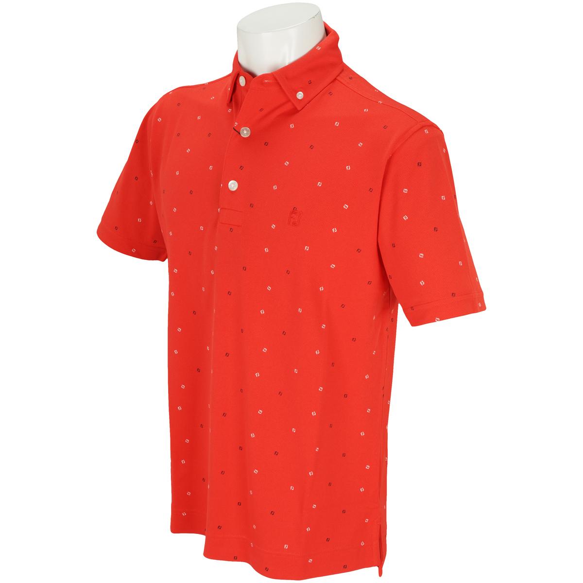 クーリング FJプリントストレッチ鹿の子半袖ポロシャツ