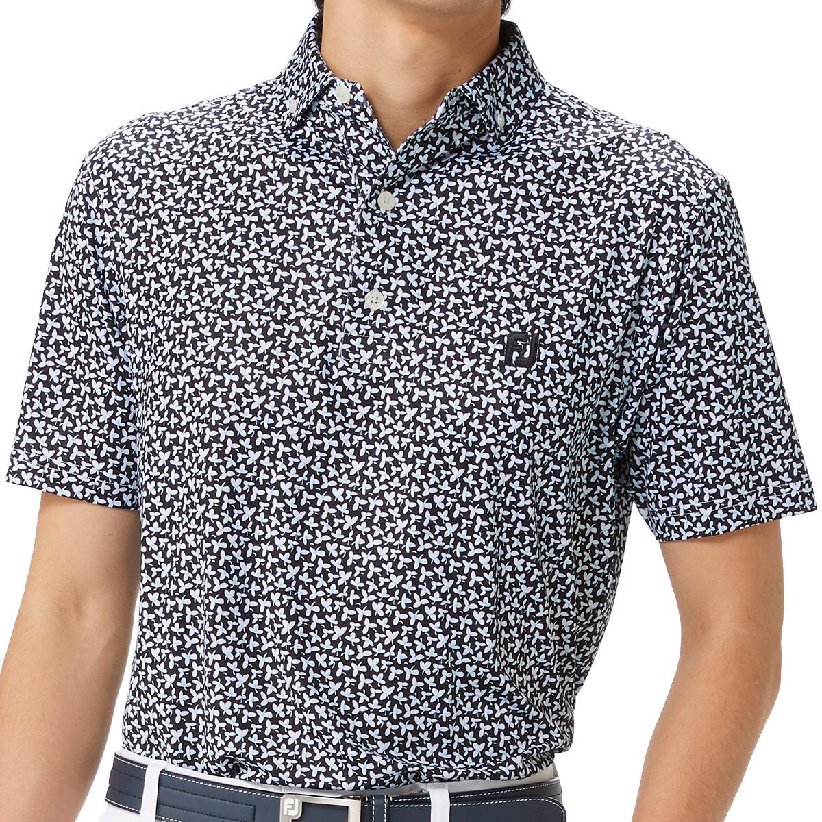 フローラルプリント ボタンダウンライル半袖ポロシャツ