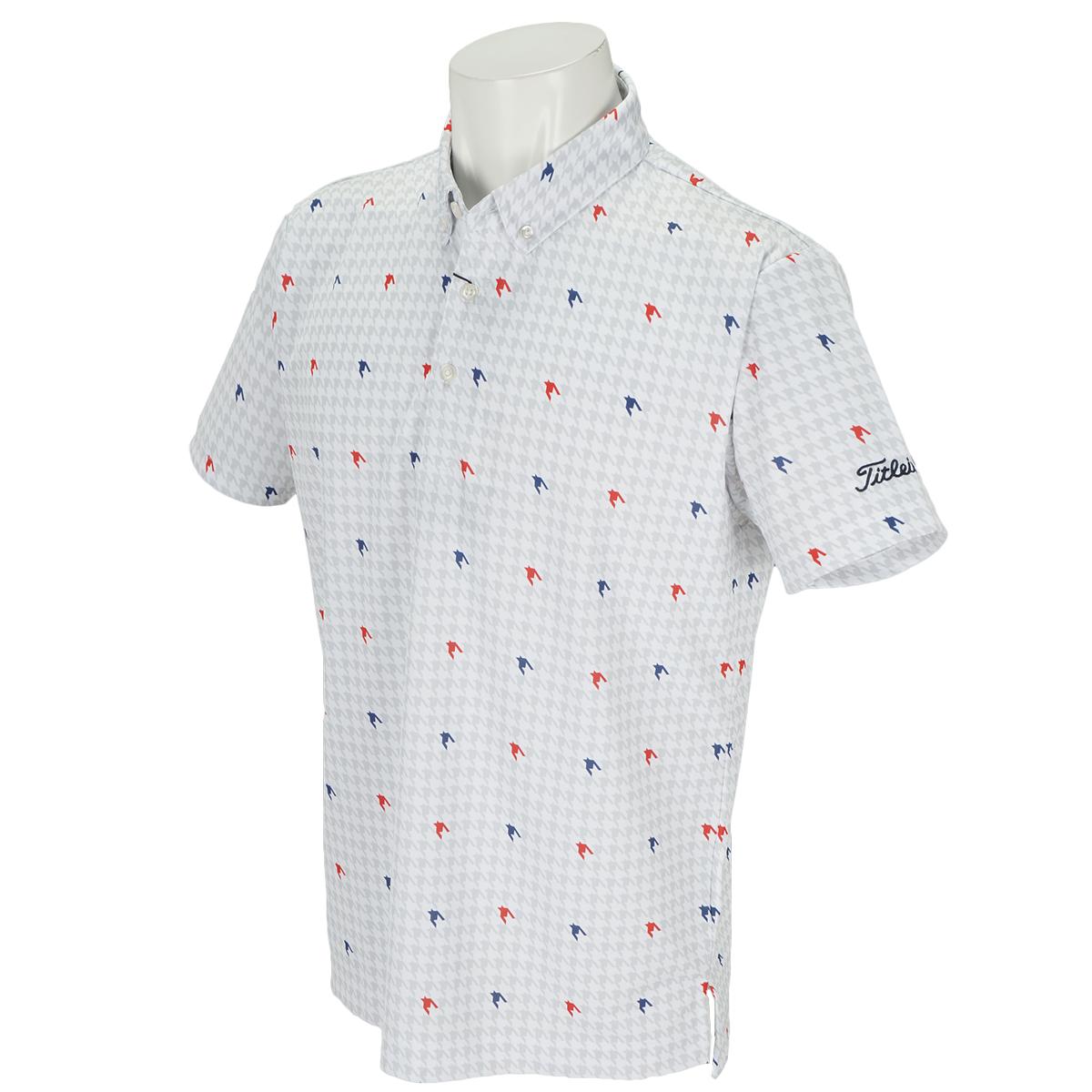 ストレッチ千鳥プリントボタンダウンポロシャツ