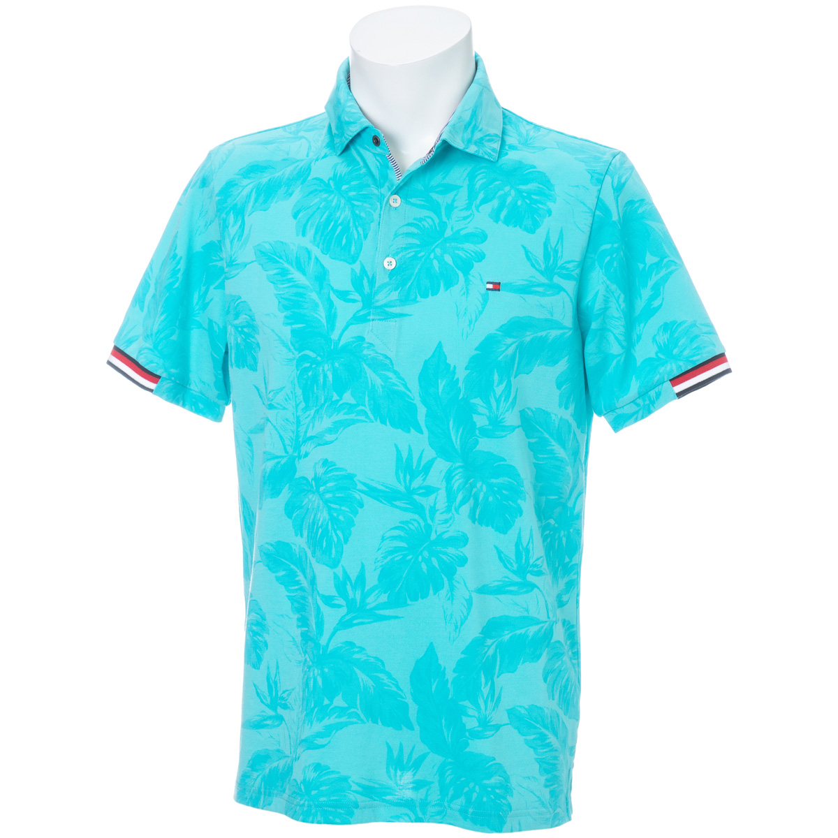 LEAF-PRINTED 半袖ポロシャツ