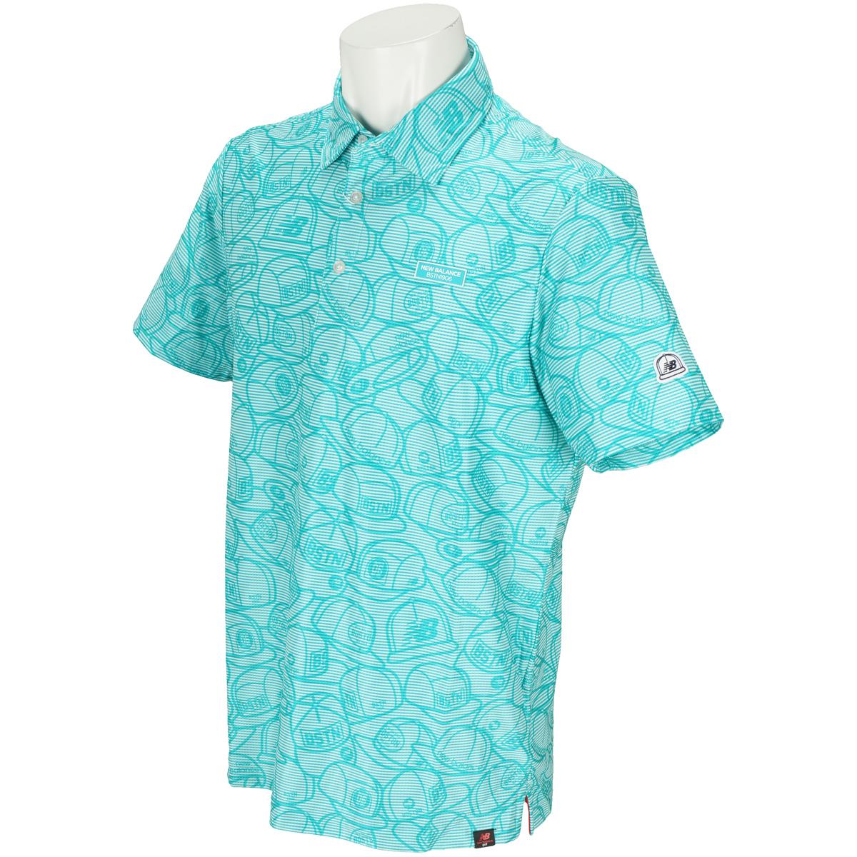 METRO ピンボーダー×ヘッドウェアプリント 半袖ポロシャツ
