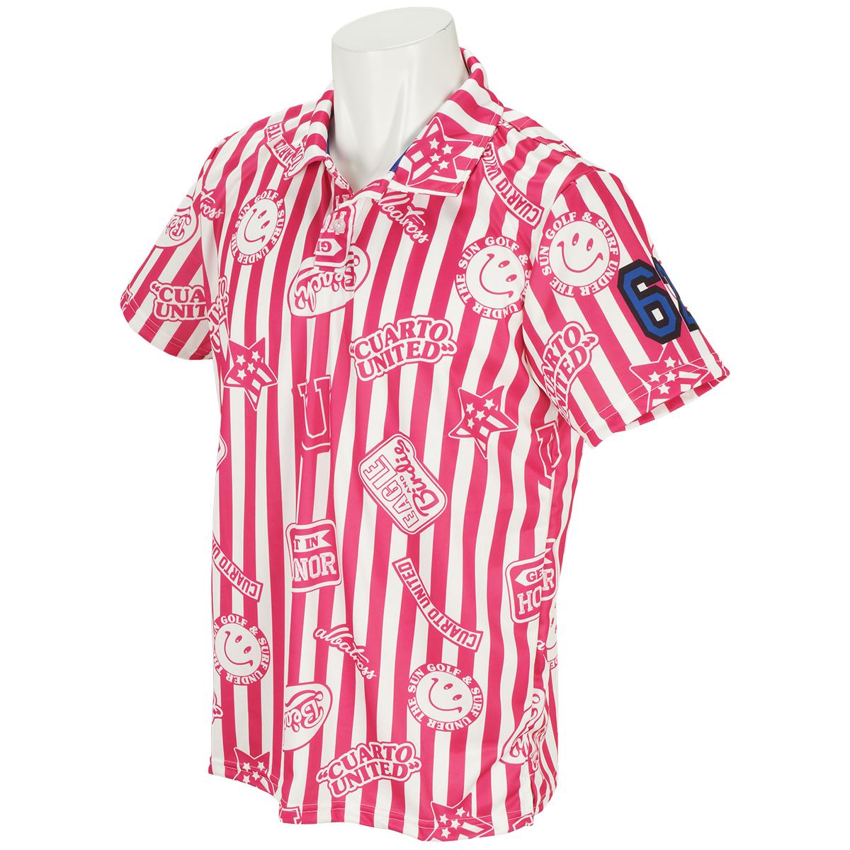 ストライプロゴ半袖ポロシャツ
