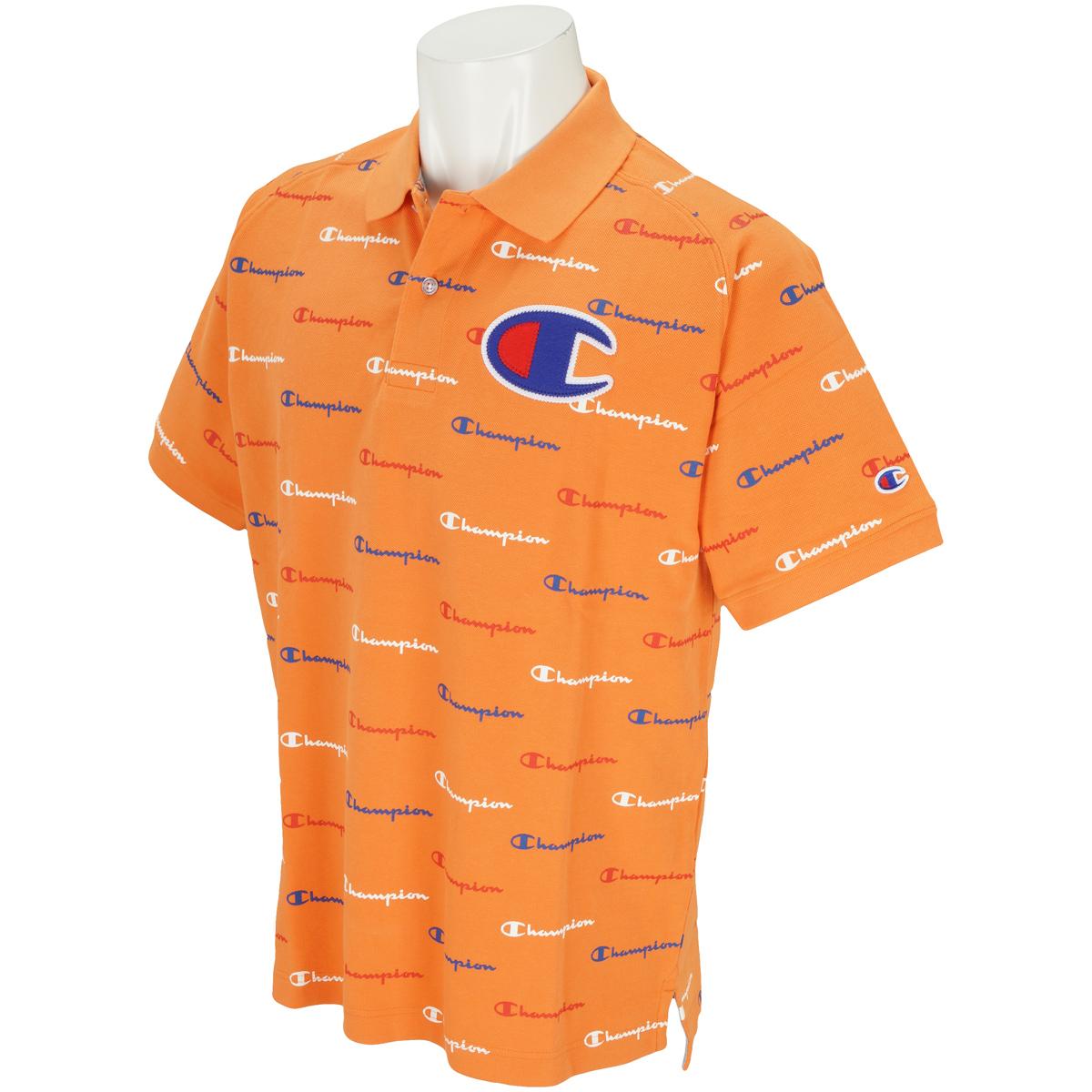 UVカット チャンピオンプリント 鹿の子半袖ポロシャツ