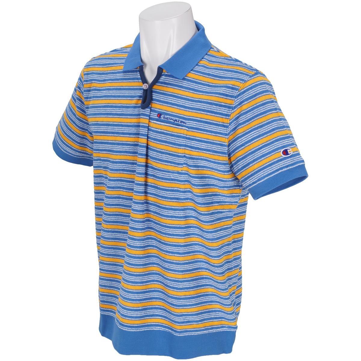 ボーダーパイル 半袖ポケットポロシャツ