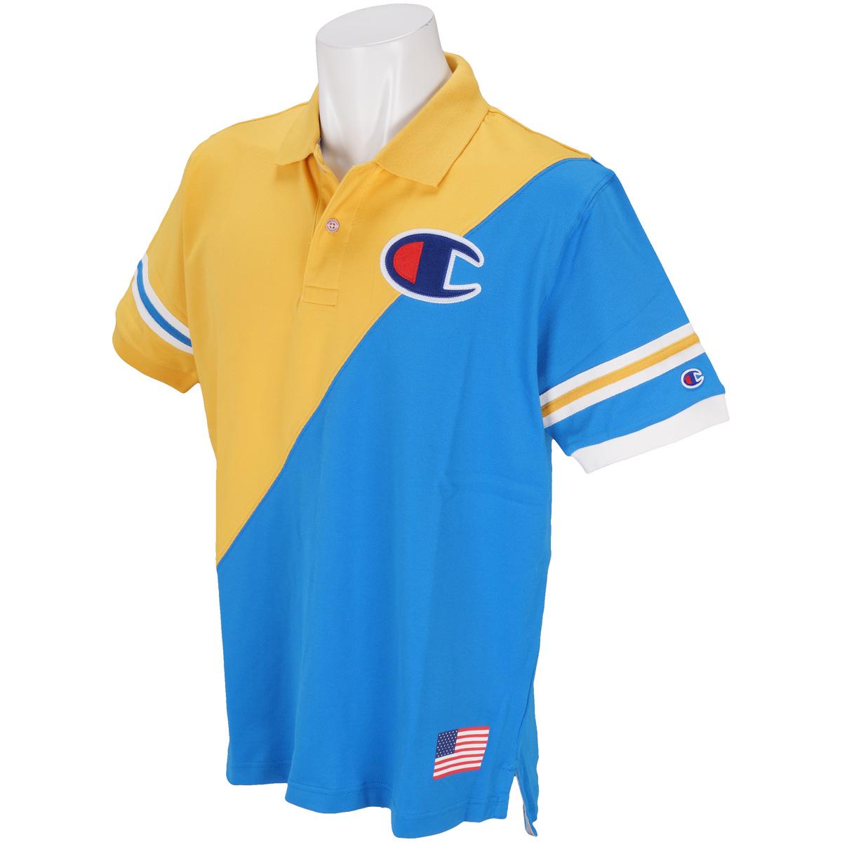 カラー切換 ストレッチ半袖ポロシャツ