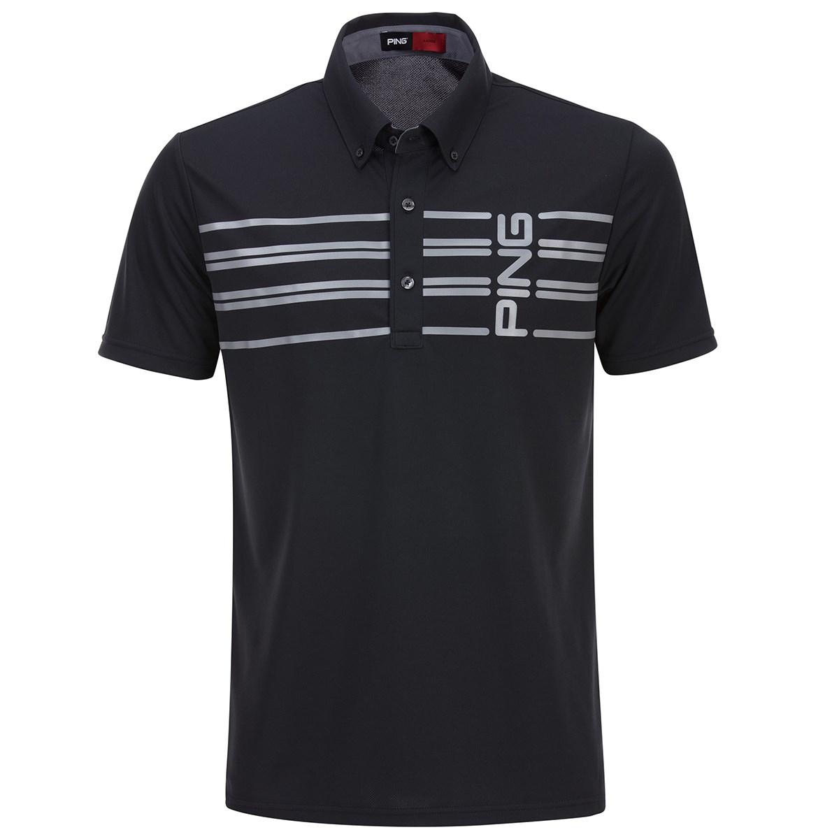 ピン(PING) ボーダープリント半袖ポロシャツ