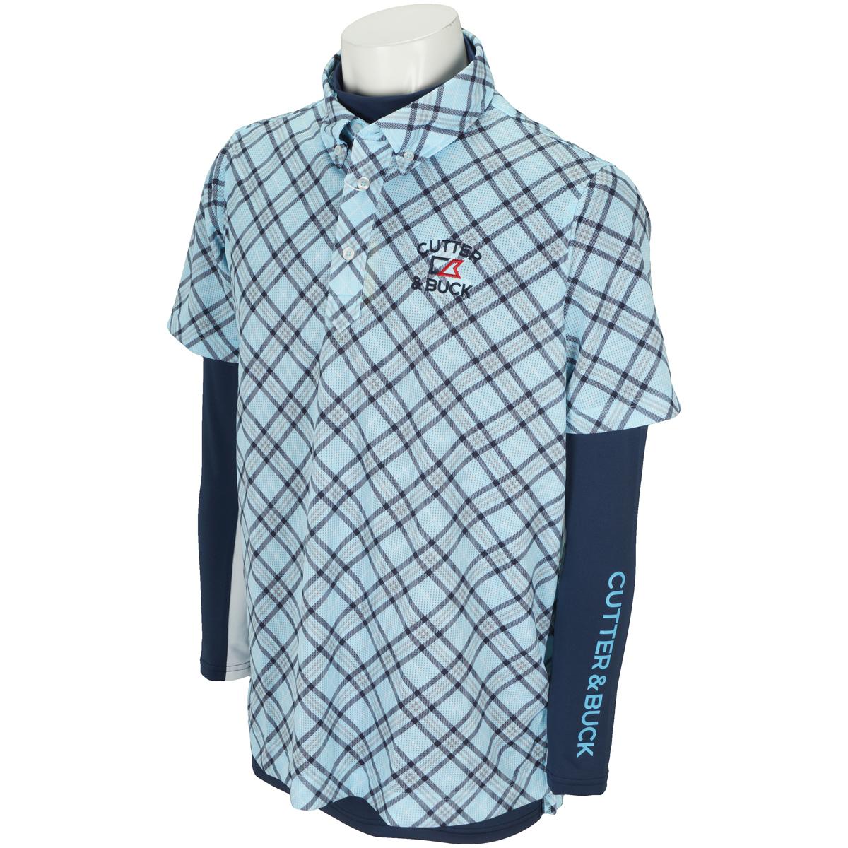 ストレッチ メッシュプリント長袖アンダーシャツ付き半袖ポロシャツ