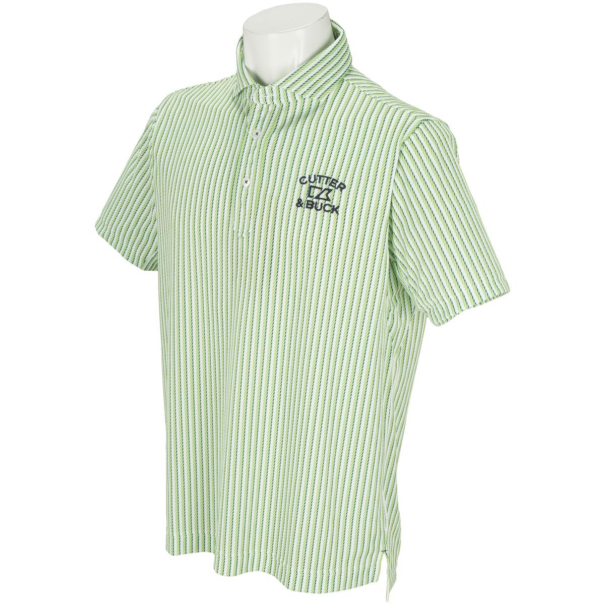ストライププリント半袖ポロシャツ