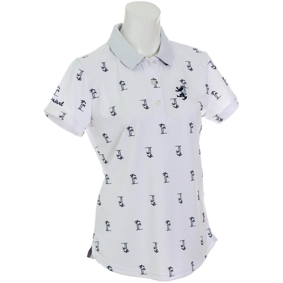 アドミラル Admiral ヤシノキ柄プリント 半袖ポロシャツ S ホワイト 00 レディス
